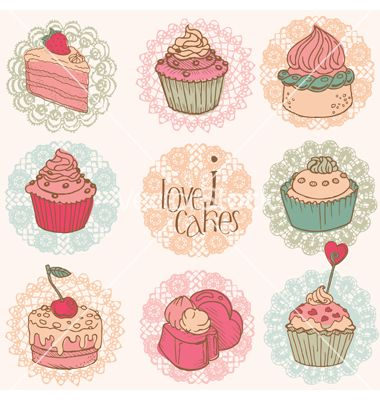 Cakes and desserts vector