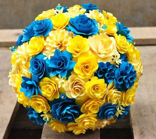 Yellow And White Flowers For Weddings: Yellow And Bondi Blue Bouquet Made Of Wooden Flowers