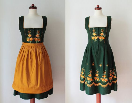 Vintage Dirndl Dress  1970's German von PaperdollVintageShop, €89.90