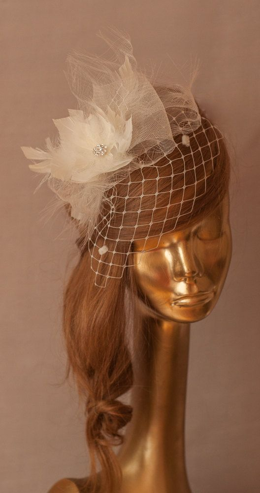WEDDING BRIDAL Ivory BIRDCAGE VEIL with Feather Flower by ancoraboutique, $125.00
