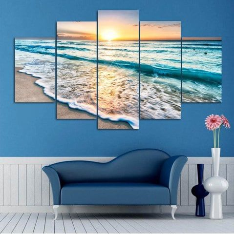 Sunset Beach Print Split Canvas Wall Art Paintings Art Gallery Wall Cheap Canvas Wall Art Photo Wall Gallery