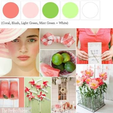 A Palette of Light Coral, Blush, Shades of Green + White xo http://www.theperfectpalette.com/2011/08/sweet-summer-romance-palette-of-shades.html