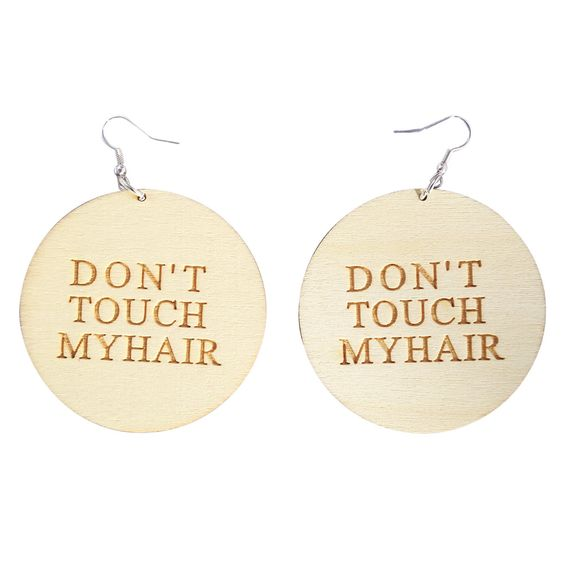 Don't Touch My Hair Earrings.  Are you tired of people touching your hair? Let them know to stop touching your natural hair!  Shop our entire collection of Natural Hair and afrocentric earrings at www.EthnicEarring.com