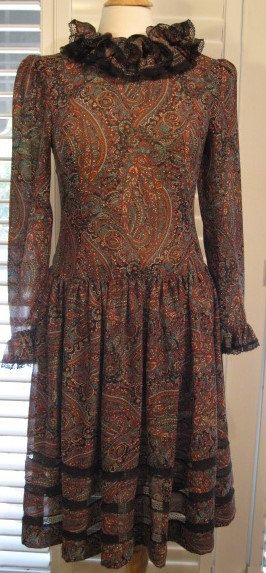 1970s Victor Costa For Neiman Marcus Semi-sheer Paisley Dress Free Shipping by GoodBuyForNow on Etsy
