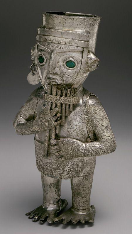 Panpiper Vessel, 14th–15th century Peru; Chimú Silver, malachite: