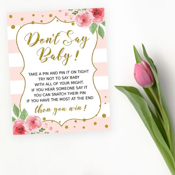 Get the party started with fun 'Don't say baby' game! Every baby shower has to have games and this one is the perfect ice breaker! #printable #babyshower #babyshowergames #babyshoweractivity #SHdesigns