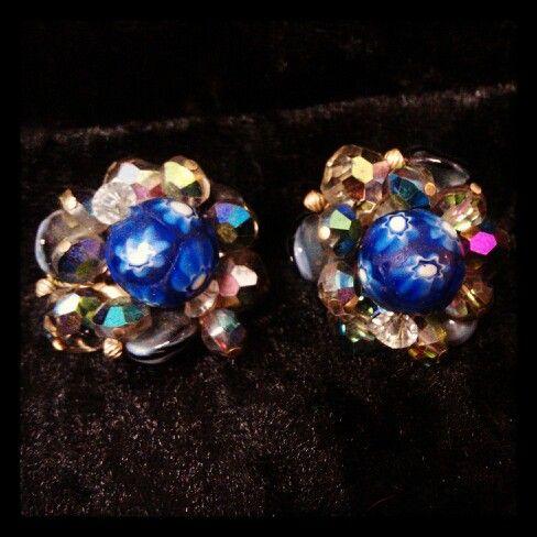 Beautiful Aurora Borealis earrings with beads!