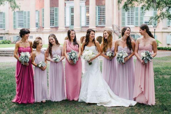 Bridesmaid Dresses In Mixed Pink Hues