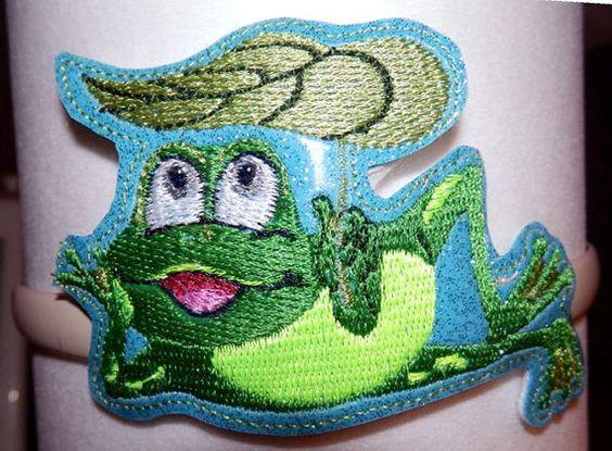 Frog Headband Slider  Machine Embroidery Pattern by WhimsyDolls