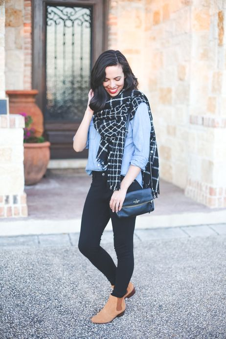 chambray shirt, black plaid scarf, black skinny jeans, and brown ankle boots: