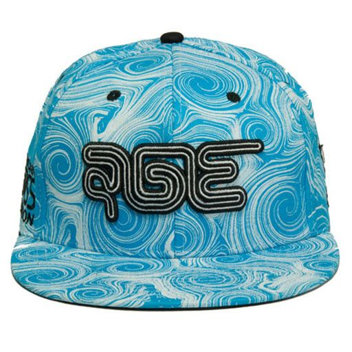 American Glass Exposition or AGE is a Non Profit show for the American Glass Industry of Functional Glass Art. AGE is held twice a year in Las Vegas, NV. Blue and white snapback hat with all over desi