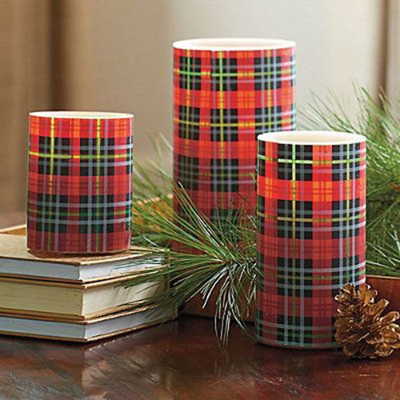 Celebrate your love of Fall in an elegant, chic way with these gorgeous flannel candles in your decor!