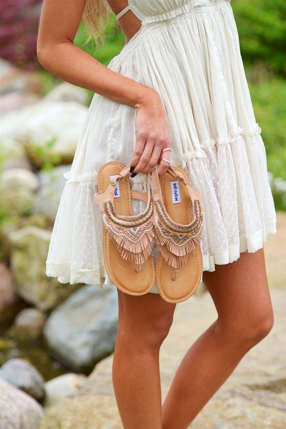 Journey On Fringe Sandals - Tan