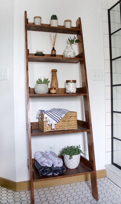 Farmhouse Ladder Shelf Decor