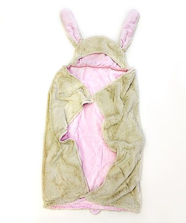 Another great find on #zulily! Green & Pink Bunny Hoodie Baby Blanket #zulilyfinds
