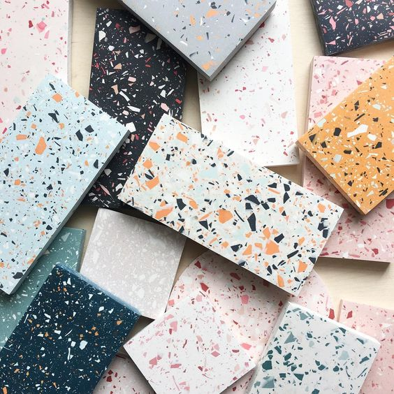 beautiful terrazo trend 2019. #designtrend #2019trend and back to the flatlay ⚡️ #surfacedesign #surfacework #samples #terrazzo #jesmonite #handmadeintheuk #nottingham #vsco #vscocam