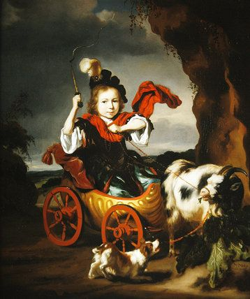 Girl in Goat Cart by Nicholaes Maes: