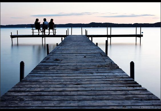 Deck on Torch Lake at twilight, Antrim County, Michigan, USA.photo by Pierre-Arnaud Chouvy