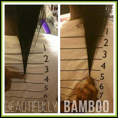 """Beautifully Bamboo Results: """"My skin is clearer, more energy, nails grow like crazy, also my hair grew from the 4 on my length check shirt the 5! The pic on the left was taking 9/7.  I started taking the pills and the tea on 9/28. the pic on the right is from 11/3! I hope to be on the 7 of the shirt by the end of the year. I swear by Beautifully Bamboo products. I used to drink bamboo tea in the past and had the same great results, fast hair growth and nails.""""  -Lindsay W."""