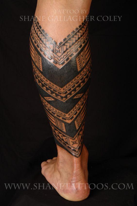 Samoan Tattoo Designs | Samoan Calf Tattoo