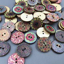 Nova! 100x misto do Vintage coloridas flores de madeira botões de costura Scrapbooking artesanato 20 mm(China (Mainland))