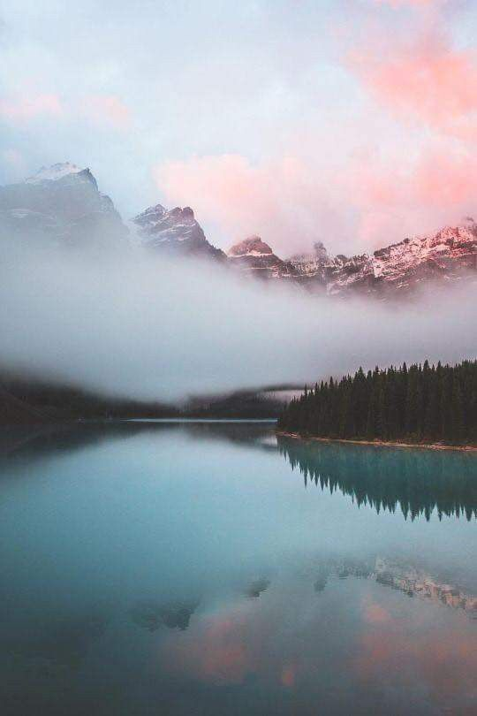 Pink Cotton Candy Clouds Fog Mist Clouds Picture Photography Sunset Pink Blue Reflection Lake Water Nature Photography Nature Landscape Photography
