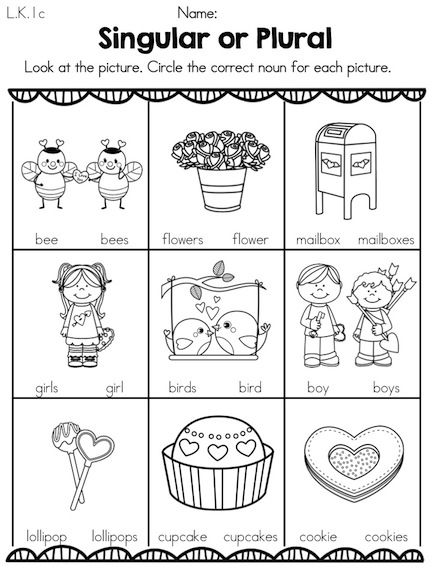 Printables Noun Worksheets For Kindergarten singular or plural noun worksheet free to print pdf file valentine nouns part of the valentines day kindergarten literacy worksheets