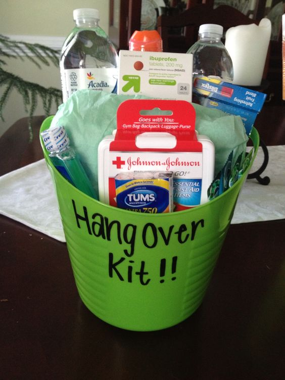 Day after 21st birthday! Survival kit. Made this for Sams birthday to go with the other bucket.  #21 #present