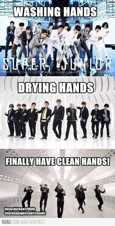 Super Junior has the obsessive compulsive disorder in cleaning their hands...