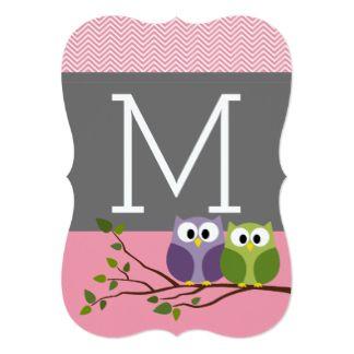 Corujas bonitos no rosa do chá do bebé do ramo convite 12.7 x 17.78cm