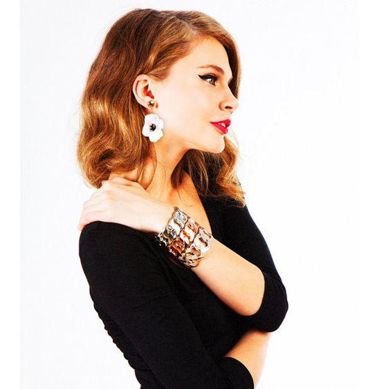Soleil Stripe Cuffs + White Poppy Drops + Color Block System Dress
