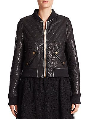 Chloé Quilted Leather Jacket - Black - Size
