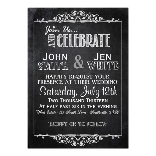 Chalkboard Framed Flourish Wedding Invitation