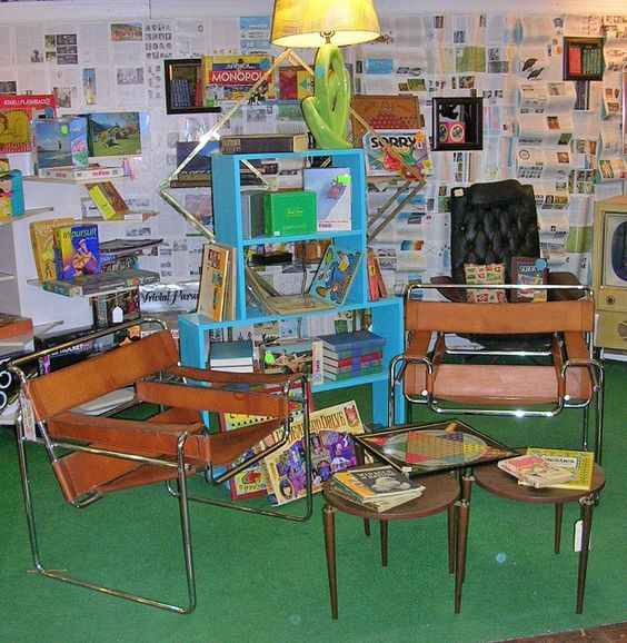 """Books & Board Games"" room w/ Wassily @ NOSTALGIA.  www.nostalgiamarket.com"