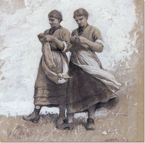 """Enjoying The Breeze"" 1884 by Winslow Homer"