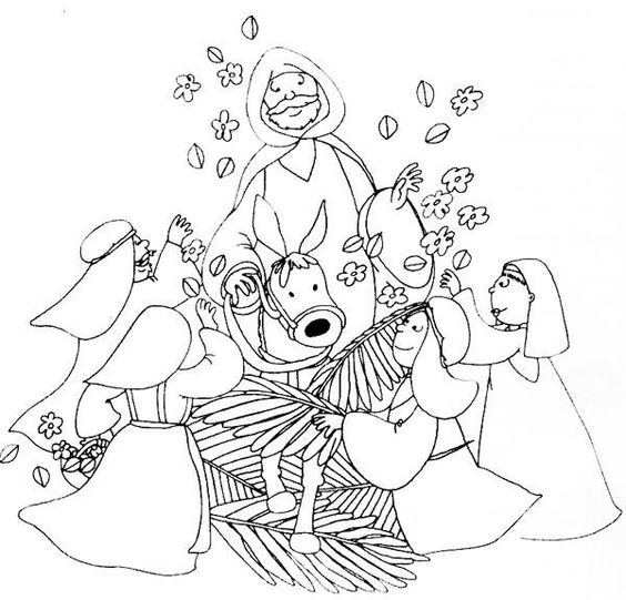 Palms coloring and coloring pages on pinterest for Palm sunday coloring page