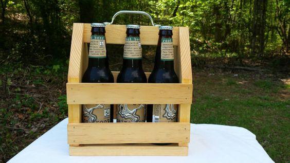 Beer Carrier 6 pack rustic handmade wood  craft beer
