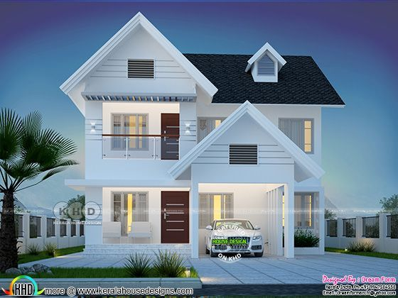 1992 Square Feet 4 Bedroom Beautiful House Plan House Roof Design Beautiful House Plans Kerala House Design