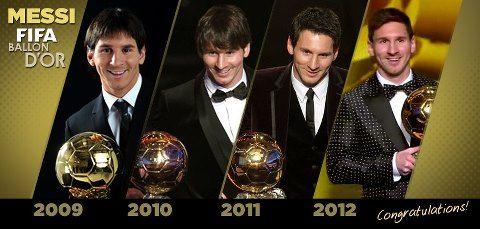 Lionel Messi, con su cuarto balón de oro consecutivo, se convierte en el único futbolista en haber conseguido tal hazaña