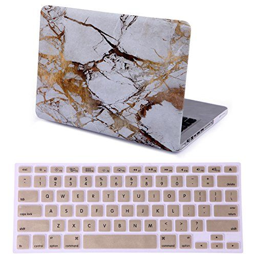 "HDE Designer Art Pattern Hard Shell Case Snap Protective Cover + Keyboard Skin for Macbook Pro 13"" (Non-Retina) - Fits Model A1278 ( White and Gold Marble) HDE http://www.amazon.com/dp/B01729HK6I/ref=cm_sw_r_pi_dp_tyvuwb0C27PSB"