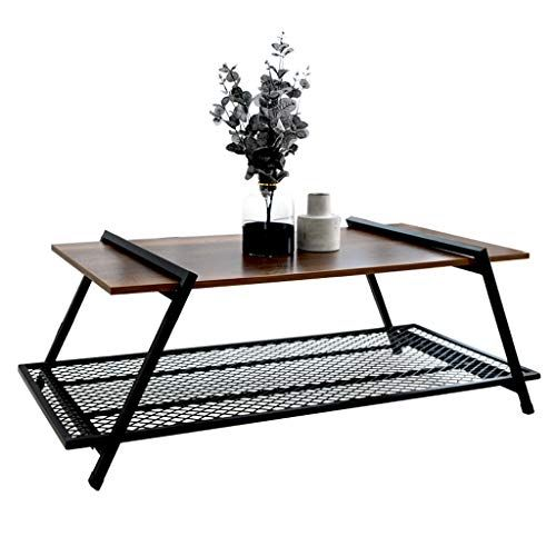 Qyszyg Wrought Iron Wood Coffee Table Simple Modern Living Room