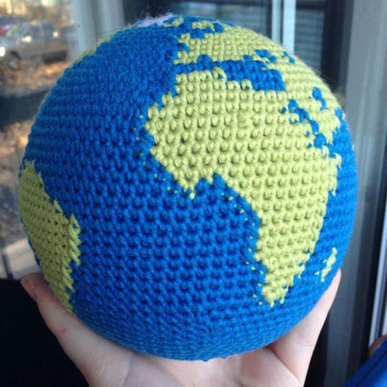 THIS LISTING IS FOR A PDF CROCHET PATTERN, NOT THE FINISHED PRODUCT!  You can have the whole world in your hands with this one-of-a-kind world