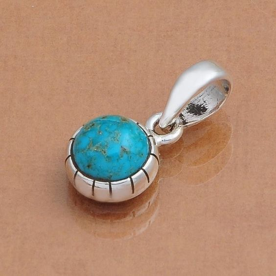 BLUE COPPER TURQUOISE 925 SOLID STERLING SILVER HOT PENDANT 1.73g DJP3441 #Handmade #PENDANTJEWELLERY