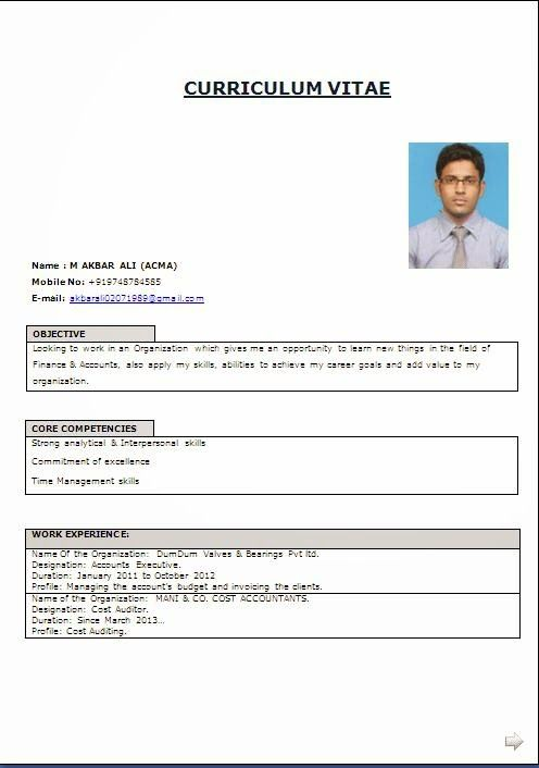Resume File Format. Best Curriculum Vitae Sample Template Example