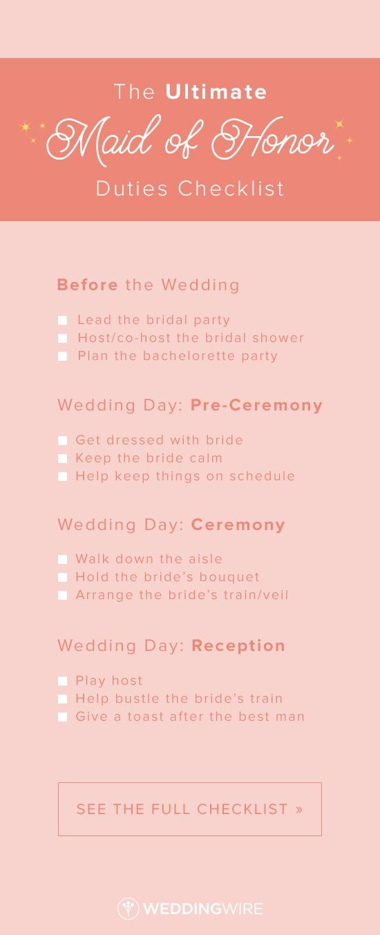 The Ultimate Maid Of Honor Duties Checklist | Maids, Weddings And