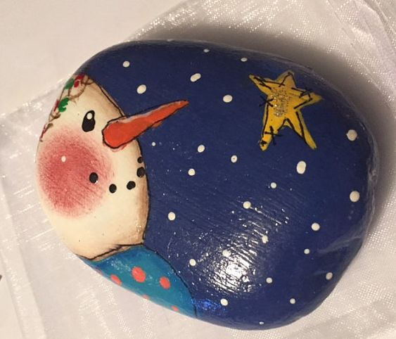 Snowman painted stone/painted rock/Christmas scene: