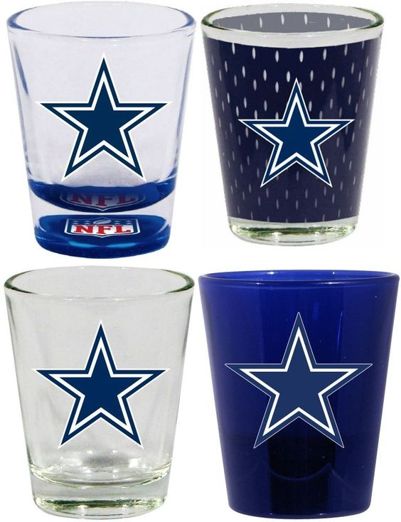 4 Piece Dallas Cowboys 2 Oz. Shot Glass Collector Set (Set of 4)