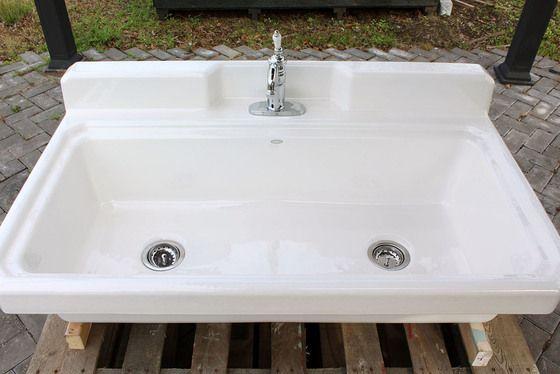 White Kohler K 6607 1 0 Harborview Kitchen Farm Sink Vintage Style Porcelain Wall Utility Sink Package Single Faucet Farm Sink Utility Sink Sink
