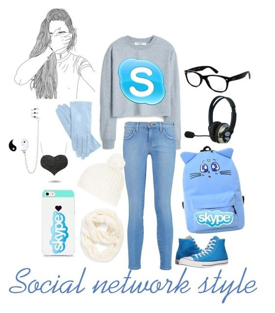 """Skype"" by allisjess ❤ liked on Polyvore featuring MANGO, Current/Elliott, Converse, Ray-Ban, Echo, Topshop, BlissfulCASE and Amorium"