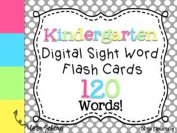 These 120 kindergarten sight words are set to a vibrant background color scheme. These digital flash cards can be used in so many ways and will save you time creating your own! These are the words I use in my kindergarten classroom, but can be adapted for some pre-k or first grade needs.